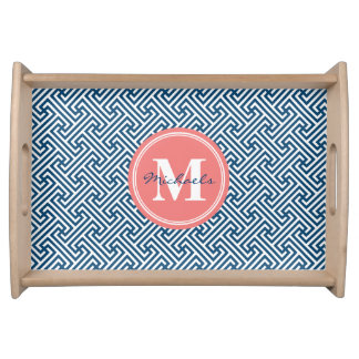 Personalized Monogram Navy & Coral Geometric Serving Tray
