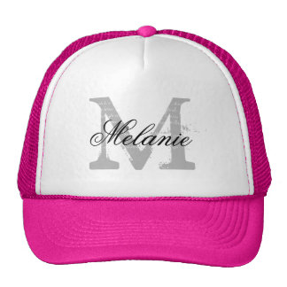 Personalized monogram neon pink hat for bridesmaid