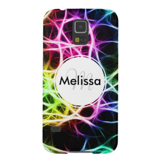Personalized Monogram Neon Rainbow Abstract Galaxy S5 Cover