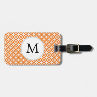Personalized Monogram Orange double rings pattern Luggage Tag