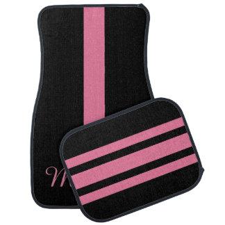 Personalized Monogram Pink And Black Stripe Car Mat