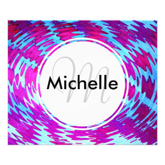 Personalized Monogram Pink and Blue Abstract Photo Print