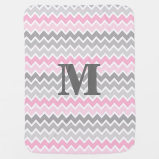 Personalized Monogram Pink Grey Gray Ombre Chevron Baby Blanket