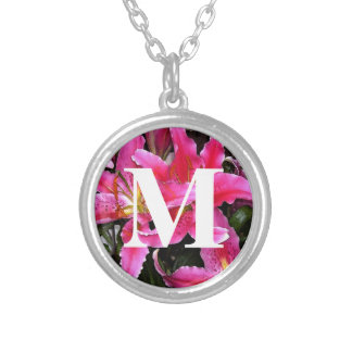 Personalized Monogram Pink Stargazer Lily Photo Silver Plated Necklace