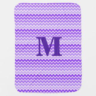 Personalized Monogram Purple Ombre Chevron Baby Blanket