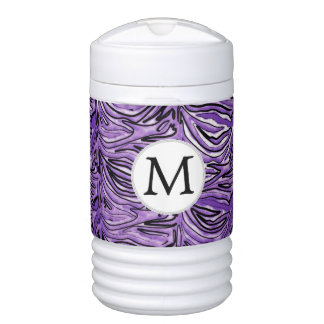Personalized Monogram Purple Zebra Stripes Drinks Cooler