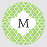 Personalized Monogram Quatrefoil green and White Round Stickers