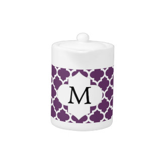 Personalized Monogram Quatrefoil Purple and White
