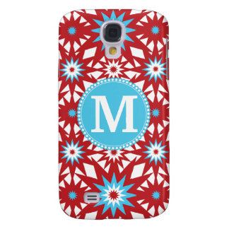 Personalized Monogram Red Teal Blue Star Pattern Galaxy S4 Case