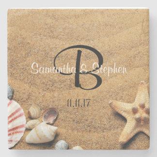 Personalized Monogram Sea Beach Wedding Gift Favor Stone Coaster