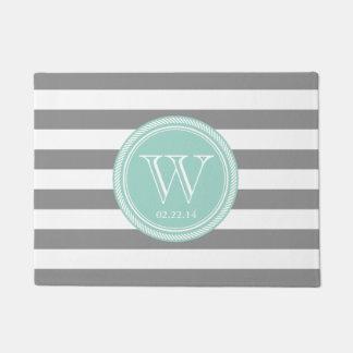 Personalized Monogram Seafoam and Grey Striped Doormat
