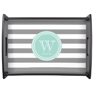 Personalized Monogram Seafoam and Grey Striped Serving Tray