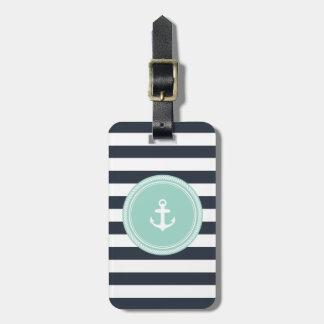Personalized Monogram Seafoam and Navy Nautical Luggage Tag