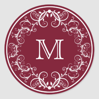 Personalized Monogram Stickers Floral Burgundy