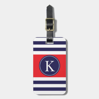 Personalized Monogram Stripes Pattern Navy Red Luggage Tag