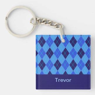 Personalized monogram T boys name blue argyle Double-Sided Square Acrylic Key Ring