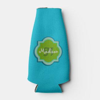 Personalized Monogram Teal Bottle Cooler
