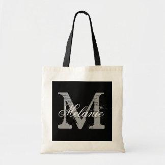 Personalized monogram tote bag | black and white