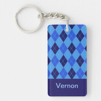 Personalized monogram V boys name blue argyle Double-Sided Rectangular Acrylic Key Ring
