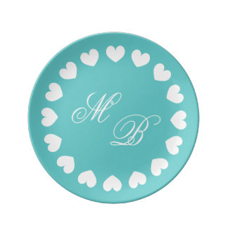 Personalized monogram wedding plates with hearts