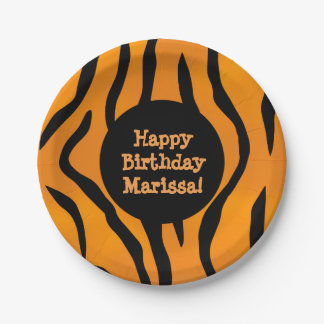 Personalized Monogram Wild Thing Tiger Stripes 7 Inch Paper Plate