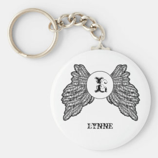 Personalized Monogrammed Angel Wings Key Ring