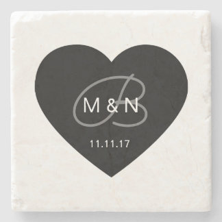 Personalized Monogrammed Black Heart Wedding Favor Stone Coaster