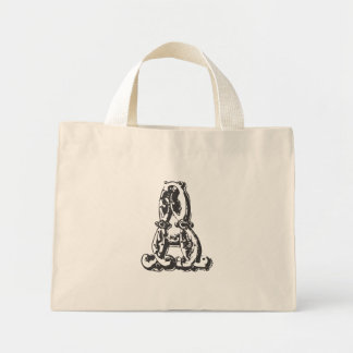 Personalized Monogrammed Canvas Tote Bag Letter A