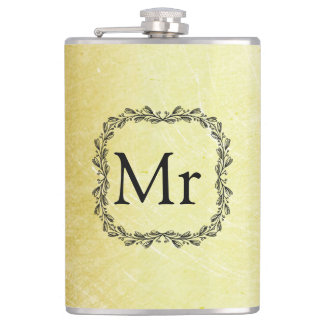 Personalized Monogrammed Gold and Black Flask