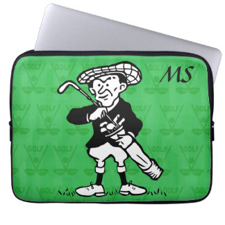 Personalized Monogrammed golf cartoon golfer Laptop Computer Sleeve