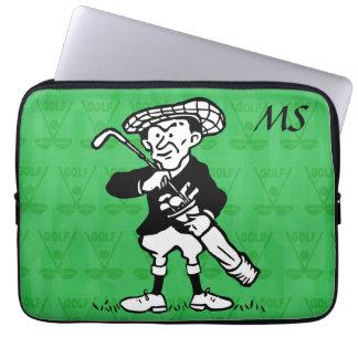 Personalized Monogrammed golf cartoon golfer Laptop Sleeve