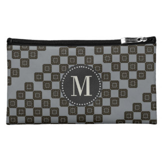 Personalized Monogrammed Gray Black Checked Bag Makeup Bags