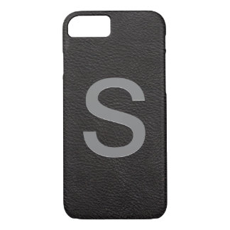 Personalized Monogrammed Initial | Black Leather iPhone 8/7 Case