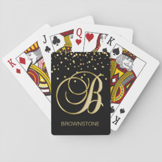 Personalized Monogrammed Letter 'B' Gold Black Poker Deck