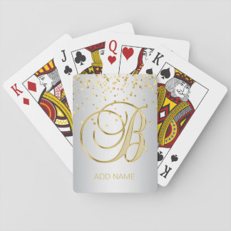 Personalized Monogrammed Letter 'B' Gold Silver Playing Cards