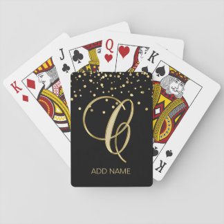 Personalized Monogrammed Letter 'C' Gold Black Playing Cards