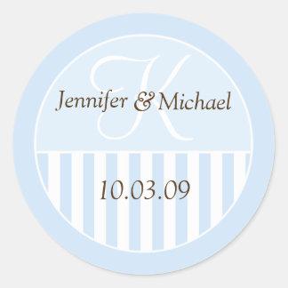 Personalized Monogrammed Wedding Favor Labels Round Sticker