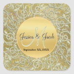 Personalized Monogrammed Wedding Stickers Square Stickers