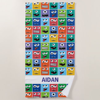 Personalized Monster Face Pattern Colorful Kids Beach Towel