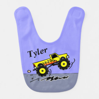 Personalized Monster Truck Bib for Baby Boys