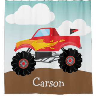 Personalized Monster Truck, Boy's Shower Curtain