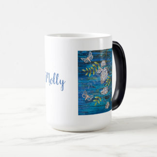 Personalized Morphing Mug w/ Night Moths & Flower