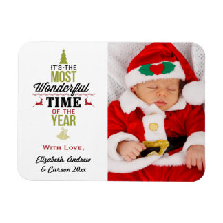 Personalized Most Wonderful Time of the Year Photo Rectangular Photo Magnet