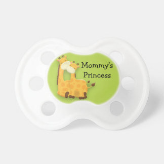 Personalized Mother and Baby Giraffe on Green Dummy