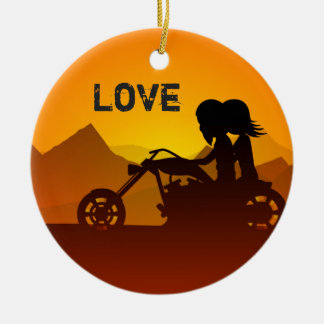 Personalized Motorcycle Couple at Sunset LOVE Christmas Ornament