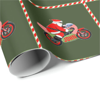 personalized motorcyclist Christmas Wrapping Paper