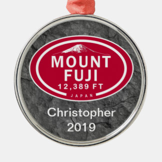 Personalized Mount Fuji 12,389 FT Japan Mountain Silver-Colored Round Decoration