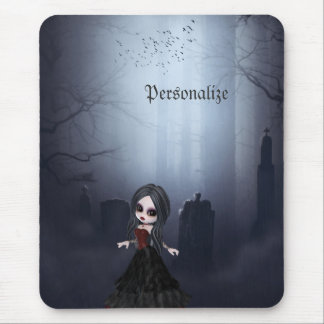Personalized Mousepad. Cute Goth Girl in Graveyard Mouse Mat