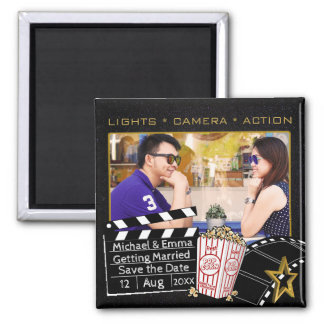 Personalized Movie Star Save the Date Square Magnet