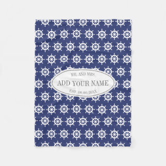 Personalized mr and mrs navy blue nautical pattern fleece blanket